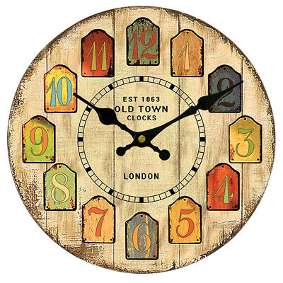 Wooden Wall Clock Digital Vintage Rustic Shabby Chic Kitchen Office Gift #2