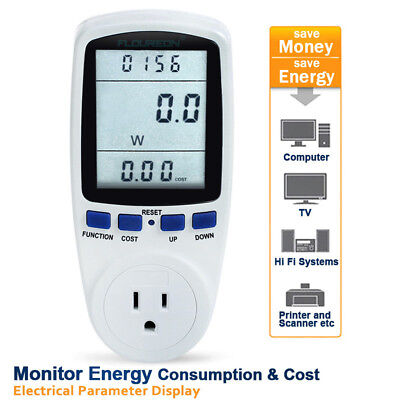US Plug In LCD Energy Monitor Power Consumption Meter Watt Volt Analyzer Tester