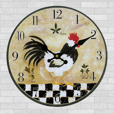 Wooden Wall Clock Digital Vintage Rustic Shabby Chic Kitchen Office Gift #19