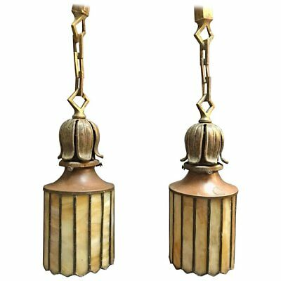 Pair of Exceptional Arts & Crafts Stain Glass Brass Pendant Lights