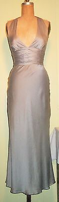 PAPELL Boutique Evening 4 Sexy Lt Gray 100% Silk Formal Length Halter Gown Dress
