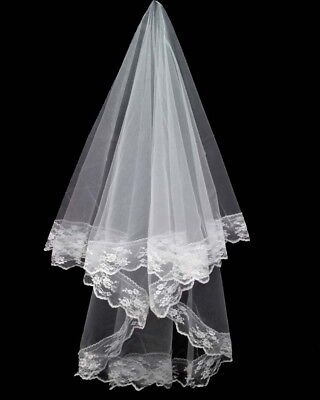 White Bridal Wedding Veil With Lace Edges Combless Brand New