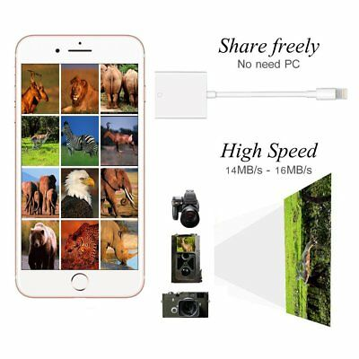 SD Card Reader, Lightning Adapter for IOS 10.3 up to 11,Trail Game Camera Viewer