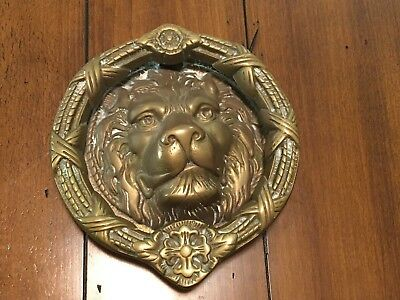 Lion Head Brass Door Knocker - Vintage - Large & Beautiful!