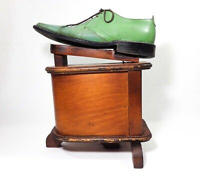 Antique Early 20Th Century Shoeshine Boy Wooden Caddy/footstool, W/art Deco Form