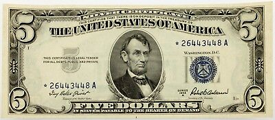 Series of 1953A $5 Silver Certificate Star Note Choice Unc Priest/Anderson
