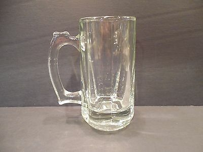 Clear Beer Mug Tankard Six Rounded Side Panels Drinking Glass Vintage