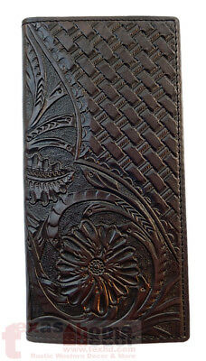 Western Bi Fold Men's Brown Leather Wallet Woven Floral Tooled Accents Rodeo