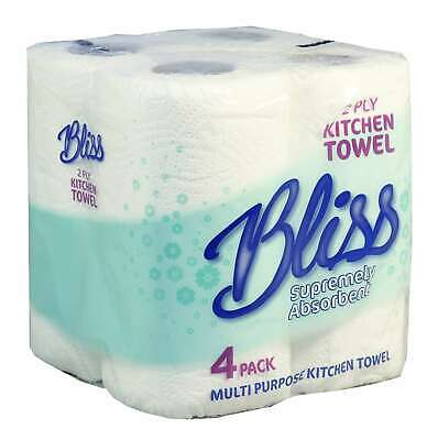 24  BLISS Kitchen Rolls Towel 10m Per Roll 2 Ply White Strong Absorbent
