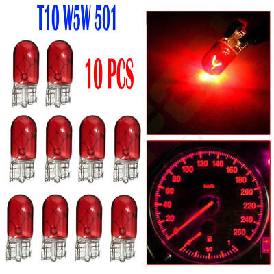 10x T10 168/W5W 3W Halogen White Globe Xenon Sidelight Front Headlight Bulb Red
