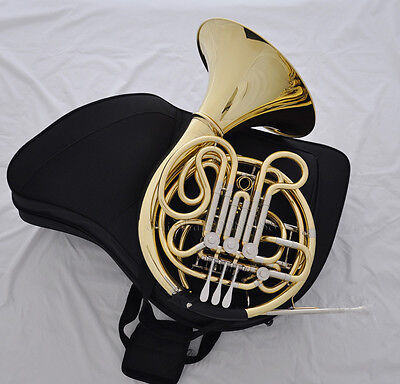 Professional JINBAO Gold lacquer F/Bb 3+1 key Double French horn Case 305mm Bell
