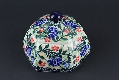 Polish Pottery Unikat Covered Dish Hand Decorated Signed 2096 Design New Unused