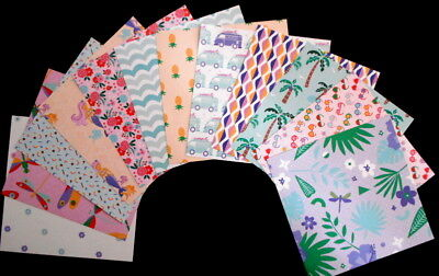 "Scrapbooking/Cardmaking Papers X 12 - ""ISLANDIA"" - 15cm x 15cm (6"" x 6"")"