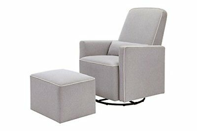 DaVinci Olive Upholstered Swivel Glider with Bonus Ottoman Grey