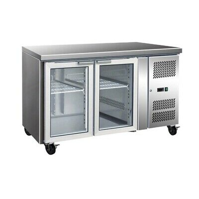 GN2100TNG 2 Glass Door Gastronorm Bench Fridge