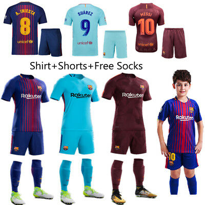 17/18 Kid Boy Girl Football Short Sleeve Kit Soccer Jersey Youth Team Suit+Socks