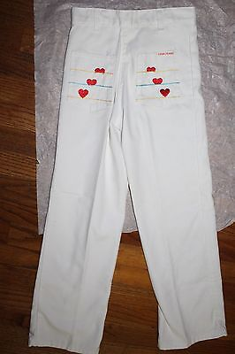 NOS 1970s Girls' White Denim Trousers Pants Red Hearts Blue Yellow Stripes 8