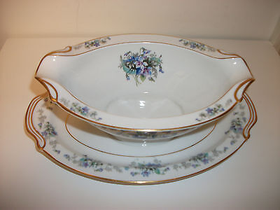 Noritake Fine China Gravy Boat With Attatched Under Plate Violette Made In Japan