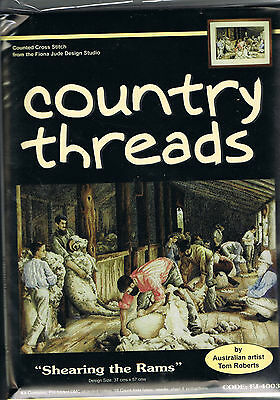 """"""" SHEARING the RAMS """"  Cross Stitch Kit,  Country  Threads"""