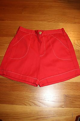 NOS 1970s Girls' Red Cuffed Shorts Size 7 Made in the United States
