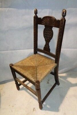 Antique Heavily Carved English Oak Chair Vintage Rush Seated Chair Victorian