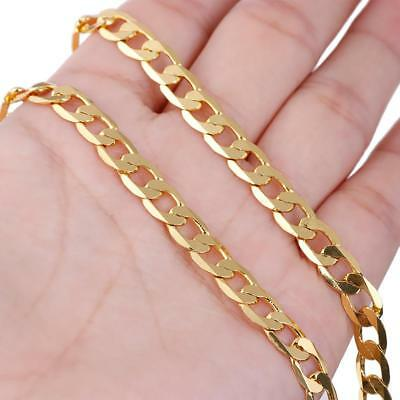 "Men's Stainless Steel 18K Gold Filled Curb Cuban Chain Necklace Jewelry 24""Hot"