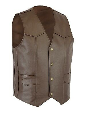 Men Classic Motorcycle Biker Brown leather waistcoat vest UK Stock Free Shipment