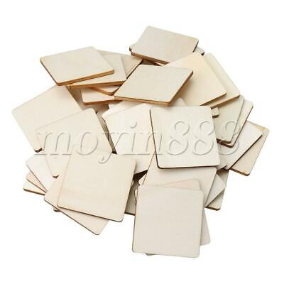 50pcs Unpainted Square Natural Wood Pieces for DIY Arts Carving 40x40mm