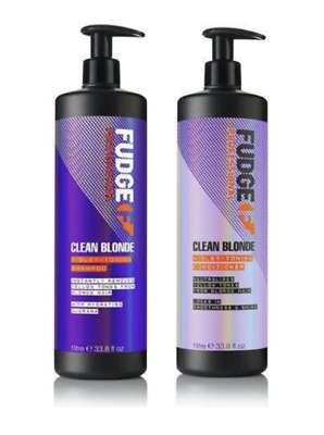 Fudge Clean Blonde Violet Toning Shampoo 1L and Conditioner 1L with Pumps