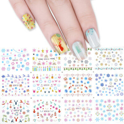 12Patterns Water Decals Christmas Snowflakes Deer Manicure Nail Transfer Sticker