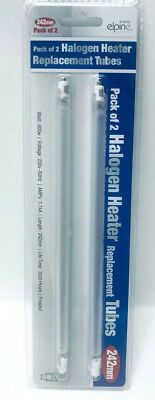 2 X Halogen Heater 400W Frosted Replacement Tubes Lamp Bulbs Frosted 242mm SH UK