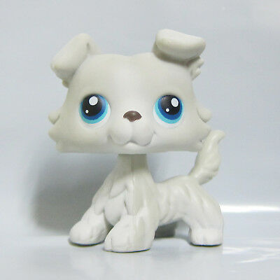 Littlest Pet Shop LPS Toy #363 White Grey Collie Dog Puppy Double Blue Eyes B2