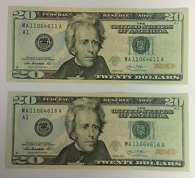 2x US $20 Bills Pair Consecutive Serial 20 Dollar Note USA Mint Uncirculated UNC