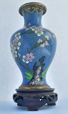Vintage Chinese Cloisonné Blue Vase With Floral And Bird Motifs On Wood Base