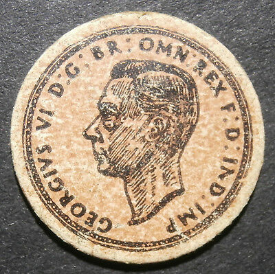Toy money - Cardboard halfpenny 1937 George VI - by Jack Klaw of London 25mm