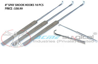 """10  Pcs Spay Snook Hook 8"""" Veterinary Surgical Inst Japanese Stainless Steel"""