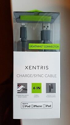 XENTRIS Charge/Sync 6 inches Lightning connector to USB Cable, NEW IN BOX