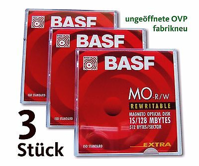 "3 Stück BASF MO-R/W 3,5"" MO Disk, 128 MB, Data Cartridge, Medium  * NEU & OVP *"