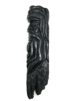 Large RARE Vintage African Black Wood Head Mask Hand Carved Paint Art Wall Decor