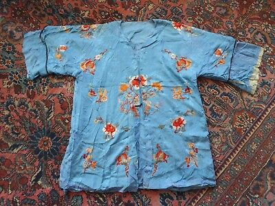 VTG  blue silk embroidered Chinese robe jacket – décor, craft, or repair piece