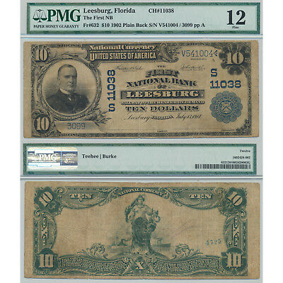 1917 $10 The First NB Leesburg,Florida DB PMG Certified Fine 12 Large Size Note