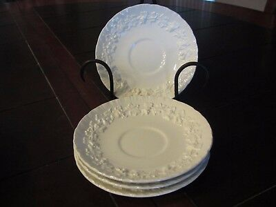 Vintage White Wedgwood Embossed Queen's Cream Soup Bowl Saucers Set of 4