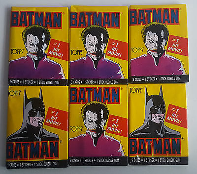 6 x Sealed Packets Of 1989 Batman Movie Topps Trading Cards, Job Lot.