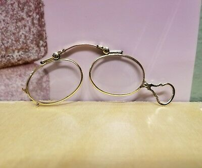 Antique Nicely Etched 14K YELLOW GOLD OPERA GLASSES FINE JEWELRY With Lenses