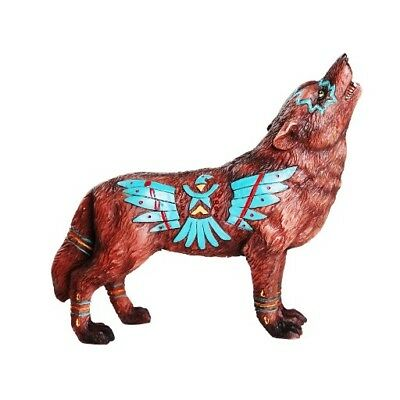 The Spirit of the Eagle Wolf Statue Collectible Hand Painted Figurine