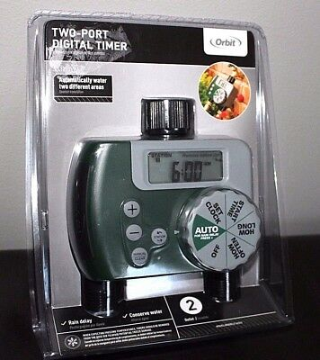 Orbit 2-Port Digital Two Hose Faucet Water Timer Lawn Garden ...