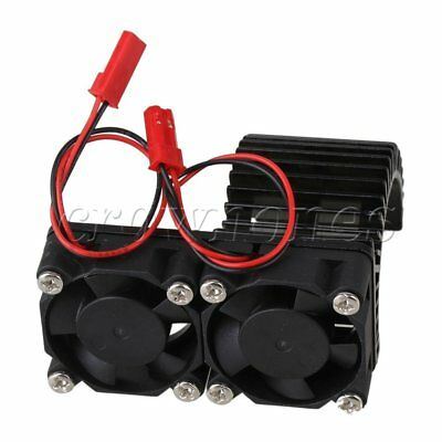 Black RC1:10 Car Alloy 540/550 Motor Heatsink Cooling With 2 Fans N10074 New