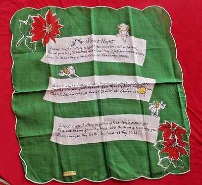 Vintage Hand Printed Egyptian Cotton Handkerchief Silent Night Angels