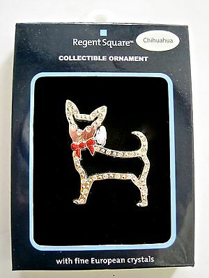CHIHUAHUA DOG ORNAMENT - DOG SILHOUETTE in European Crystals NEW In Package