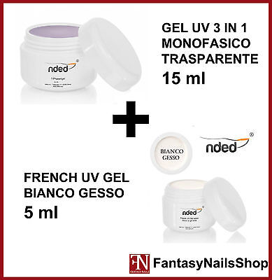GEL UV 3 IN 1 MONOFASE MONOFASICO 15 ml + GEL UV BIANCO GESSO FRENCH 5 ml NDED